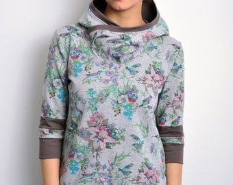 grey hoodie buttons birds by STADTKIND