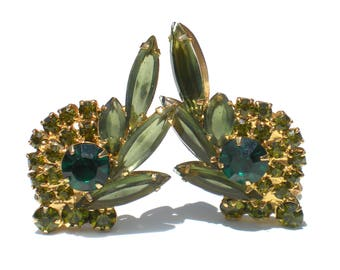 Juliana Rhinestone Clip Earrings Olive Green and Emerald Green Navette Rhinestones on Gold Tone - Vintage Jewelry
