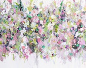 Floral Abstract Canvas Print from Painting, Floral Giclee Print, Wall Art, Abstract Floral Canvas, Large Canvas, Green, Purple, Pink, White