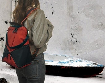 Backpack,shoulder bag , red canvas - blue leather ,Handmade ,named IRIA