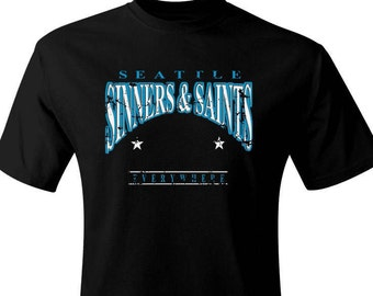 No Saint Gear Seattle Sinners & Saints Distressed Black tagless 2 sided t-shirt