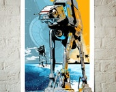 Star Wars Rogue One Art Print, Star Wars Fan Art Print, Star Wars Poster, AT-AT Walker illustration, Star Wars gift, Watercolor art