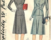 1940's Simplicity 3709 2 Piece Suit Womens Bust 30