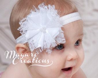Baby headband,shabby headband,white headband,Christening headband,baptism headband,baby bow headband,flower headband,newborn headband.