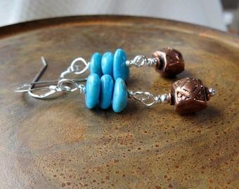 copper earrings. Kingman Arizona blue turquoise earrings. COPPER DANCE. under 25 dollars. December birthstone. southwest earrings. love.