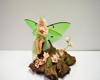 """Luna Moth Fairy, Cherry Blossom Fairy, Hand Sculpted without molds, Spring Faery, OOAK Faerie, FREE SHIPPING, """"Cherie"""""""