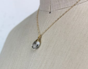 Teardrop Crystal Quartz Briolette Pendant, Small Gold Necklace, Electroplated with 14K Gold, 16 Inch Chain Handmade Necklace Crystal 450336