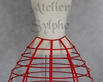 Red color hoop cage skirt long pannier 6 rows plastic boned crinoline