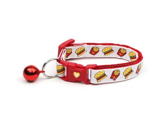 Cheeseburger Cat Collar - Burgers and Fries on White- Small Cat / Kitten Size or Large Size