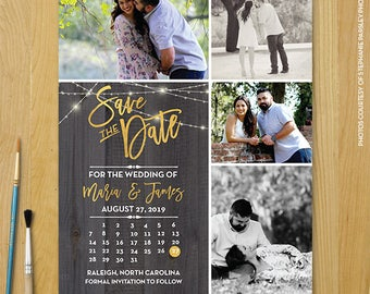 "Save The Date Magnet, Modern Vintage Magnet, Wedding Save The Date, Rustic Save The Date Magnet, 4.25"" x 5.5"" Photo Magnets - Woody"