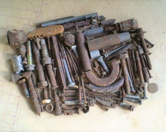 107 Rusty Metal Bolts, Nails and Parts - Industrial Salvage - Found Objects for Assemblage, Sculpture or Altered Art - Salvaged Supplies