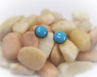 Stud Earrings Turquois Earrings Blue Earrings Glass Earrings Bronze Earrings Pierced Earrings Blue Glass Cabochon Earrings - 14017