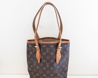 LOUIS VUITTON brown monogram leather bucket bag tote purse - Made in France - worn interior