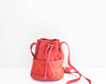 NINE WEST red leather small drawstring bucket tote bag