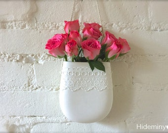 New Porcelain Lace Hanging Wall Pocket, Hanging Vase, Wall Decor, Lovely Mother's day gift