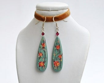 Handpainted floral earrings, romantic grey and pink combination, decorated with svarovski crystals (ready to ship)
