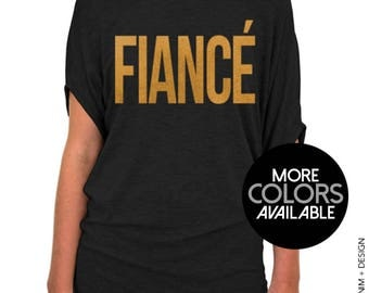 Fiance Shirt - Black Slouchy Tee (Small - Plus Sizes) - Gold or Silver Ink