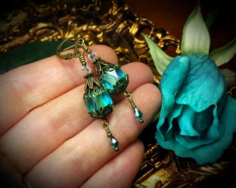 Peacock Green Victorian Earrings, Aqua Turquiose Teal Cathedral Edwardian Bridal Drops, Steampunk Antiqued Bronze, Titanic Temptations 17010