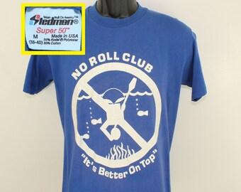 No Roll Club canoeing vintage t-shirt Medium blue 80s Stedman cotton polyester 50/50