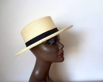 Vintage Guatemalan Sun Hat - wide brim hand woven palm Gumarcaah