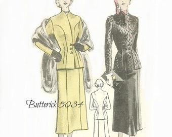 Butterick 5034 Suit Pattern Fittied Collarless Jacket Six Gore Skirt Size 12 Bust 30 Inches FF