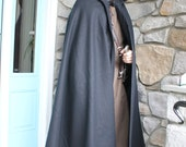 RESERVED: Black Cloak 100% Melton Wool Hooded Cape - Medieval Costume