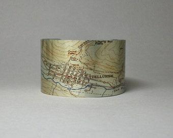 Telluride Colorado Rocky Mountains Cuff Bracelet Unique City Map Gift for Men or Women