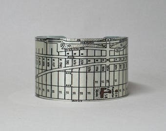 New York City NYC Manhattan Map Cuff Bracelet Upper West Side Unique Gift for Men or Women