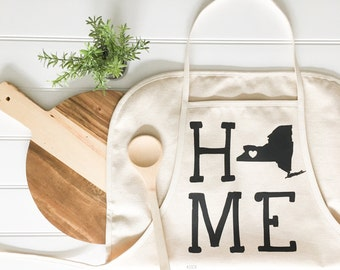 Apron - Home Apron ANY STATE Apron Customized Apron Baking Cooking Baker Chef Cotton Canvas Apron Full Apron Holiday Baking Food Kitchen