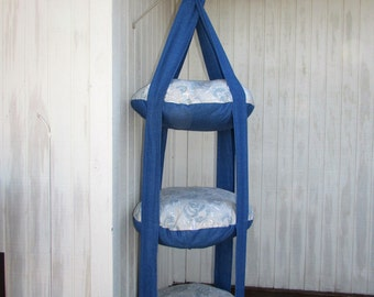 Cat Bed, Tan & Blue Swirl with Denim, Triple Kitty Cloud Hanging Cat Bed, Pet Furniture, Pet Gift, Cat Gift, Cat Tree