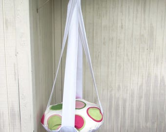 Cat Bed, White Giant Polka Dot Pink & Green, Single Kitty Cloud, Hanging Cat Bed, Pet Furniture, Gift, Cat Tree