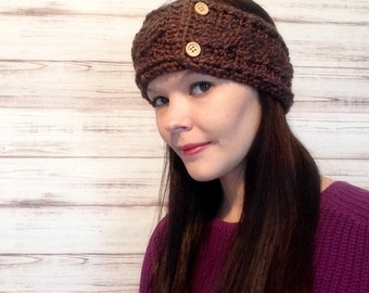 Taupe Crochet Ear Warmer, Fits Teens to Women, Custom order, Custom colors, Wood buttons, Crochet headband, Ear warmer, Photo Prop