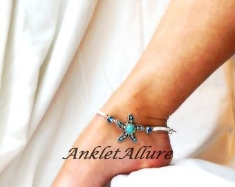 Beach Anklet Starfish Ankle Bracelet Crystal Cruise Vacation Body Jewelry Turquoise Foot Jewelry Silver Ankle Bracelet
