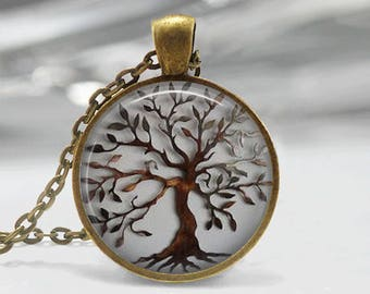 Glass Tile Necklace Tree Necklace Tree of Life Glass Tile Jewelry Tree Jewelry Brass Necklace Glass Tile Pendant Brass Jewelry