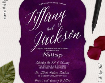 Plum Wedding Invitation Suite, Deep Purple, Calligraphy Style Invitation, I will Customize, Print Your Own