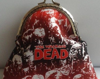 The Walking Dead coin purse, zombies, walkers, birthday gift, Black, Goth, metal frame bag, UK