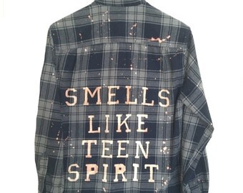 "Nirvana Flannel Shirt ""Smells Like Teen Spirit"" in Navy Blue Grey Plaid. Quote grunge ooak dyed dye bleached hipster Kurt Cobain song lyrics"