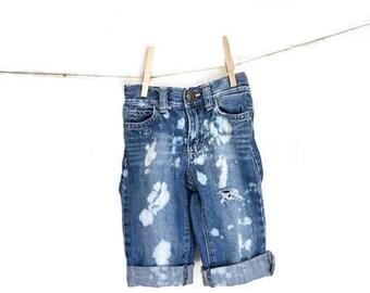 Distressed Baby Jeans. Hipster denim shredded holes acid washed bleached toddler tot size 12/18m grunge