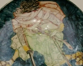 Vintage Hand Painted Plate - Young Samurai - Dated 1979 L.P. Cole
