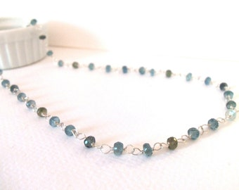 Aquamarine Shaded Gemstone Natural AAA Handmade Necklace with Sterling Silver