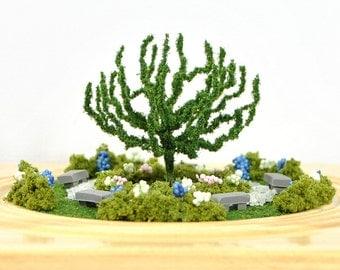 The Zen Zone - Desktop Garden Relaxation Garden Scene Miniature Garden Handmade Diorama Garden Gift for Her Mini Dry Terrarium
