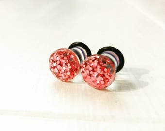 Pink Glitter Plugs for Gauged Ears, sizes 00g, 0g, 2g, 4g, 6g, regular earrings, 10mm, 8mm, 6mm, 5mm, 4mm CHOOSE YOUR COLOR, One (1) Pair