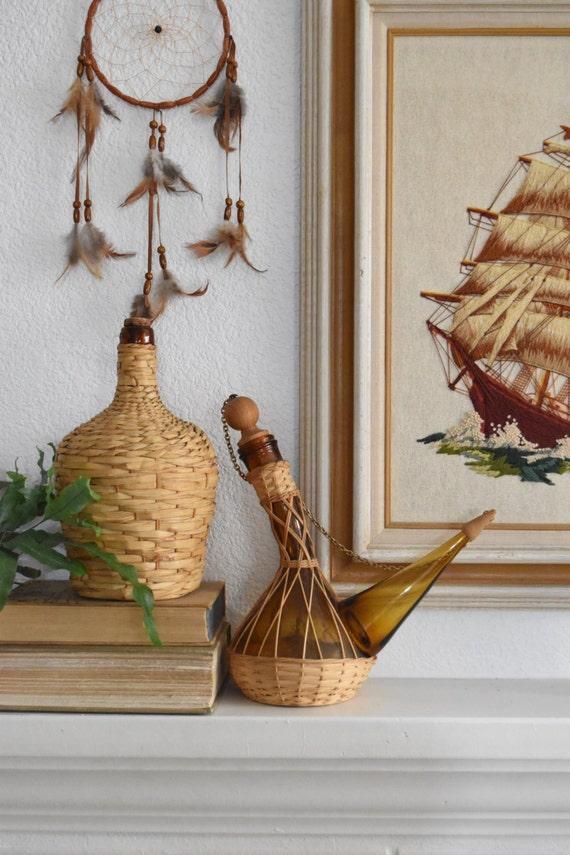 vintage viresa / spain / woven straw basket wine liquor bottle / glass jug / decanter