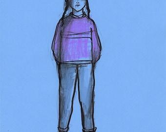 Girl child  illustration drawing original art sketch people figurative realistic blue line life model