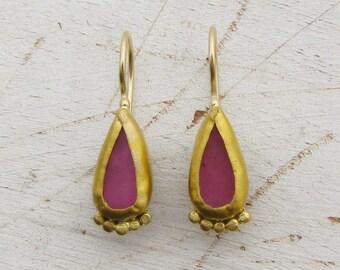 Pink Sapphire Earrings -  24k Gold Earrings - Solid Gold & Sapphire Earrings - Bridal Gold Earrings