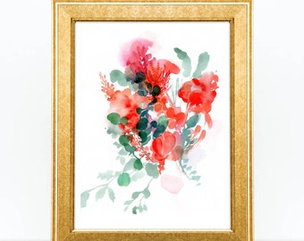 Watercolor Botanical Print. Watercolor Painting Print of flower. Abstract Floral Art Print. Home Decor Wall Art. Gift for Mum. Gift under 15