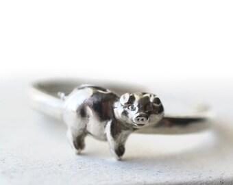 Silver Pig Ring, Piggy Bank Jewelry, Wildlife & Farm Animal Jewelry