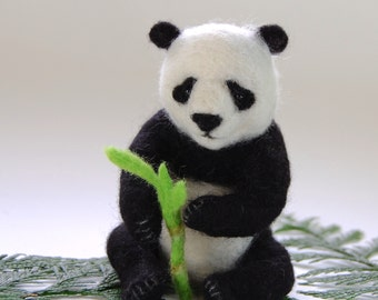 Needle Felted Panda Bear. Felted Pandas. Needle Felt Panda Gift Ideas. Wool Felt Panda Sculpture. Miniature Panda Toy. Panda Bear Nursery