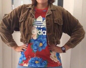 Ladies size Medium // brown velvet cropped 'Naff' jacket // vintage retro
