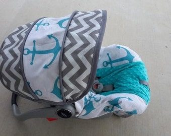 Nautical Infant car seat cover, Anchors baby cover, Chevron baby seat slipcover, made to order for your brand of car seat